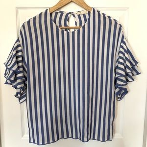 Striped Layered Short Sleeve Top Sz S